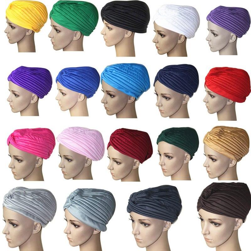 Fashion Women Hijab Turban Headwrap Cap Islamic Solid Hat Muslim Indian Caps New AIC88 headpiece