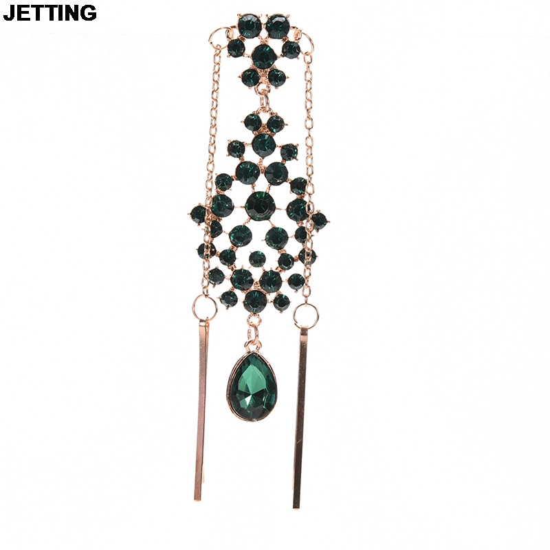 JETTING Women Indian Hair Bands Flower Hair Pins Ethnic Jewelry Accessories New Fashion Crystal Rhinestone Pendant High Forehead