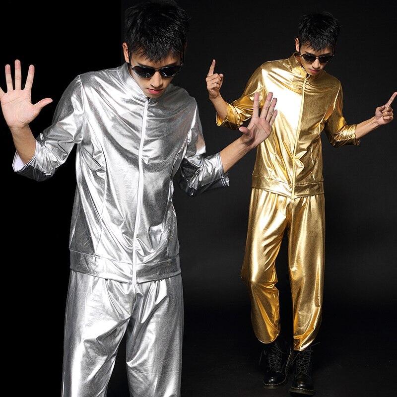 Bright Stage Costume For Men Jazz Dance Costumes Long Sleeve Tops+Pants For Men Hip Hop Bar Dj Dancers Male Dancer Wear BL1222
