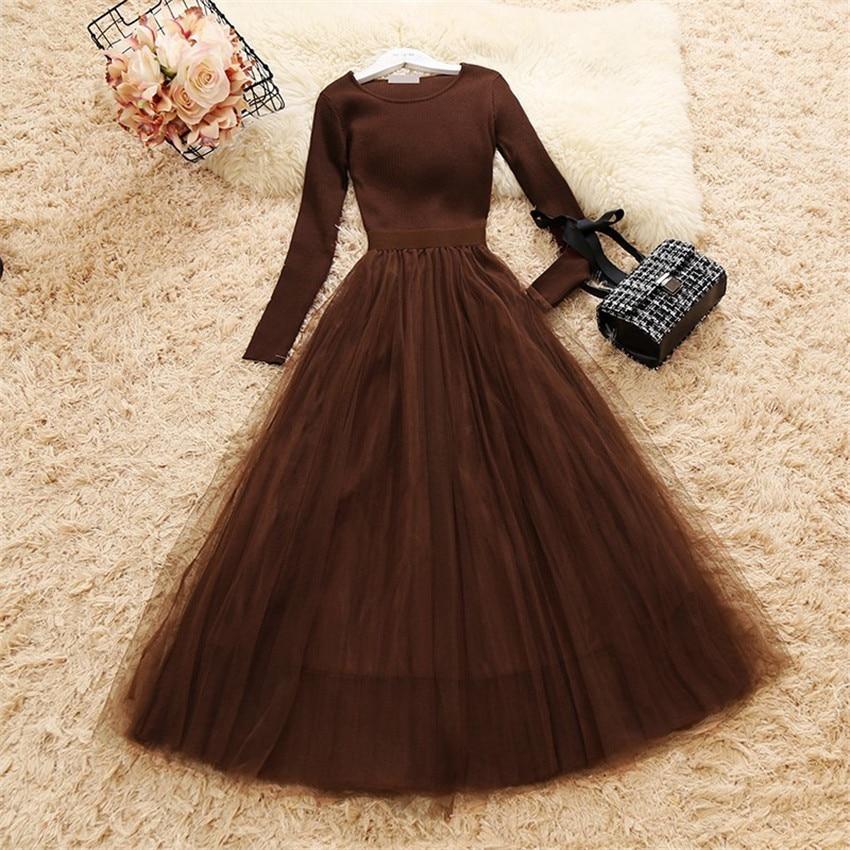2019 Autumn Women Long Sleeve Knitted Patchwork Mesh Dress Elegant Lady Long O-neck Ball Gown Dressess Vestidos Bottomings WZ721