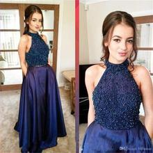 Two Pieces Navy Blue Prom Dresses Halter Beads Evening dresses Girls Pageant Gowns Satin Formal Party Dress PD359
