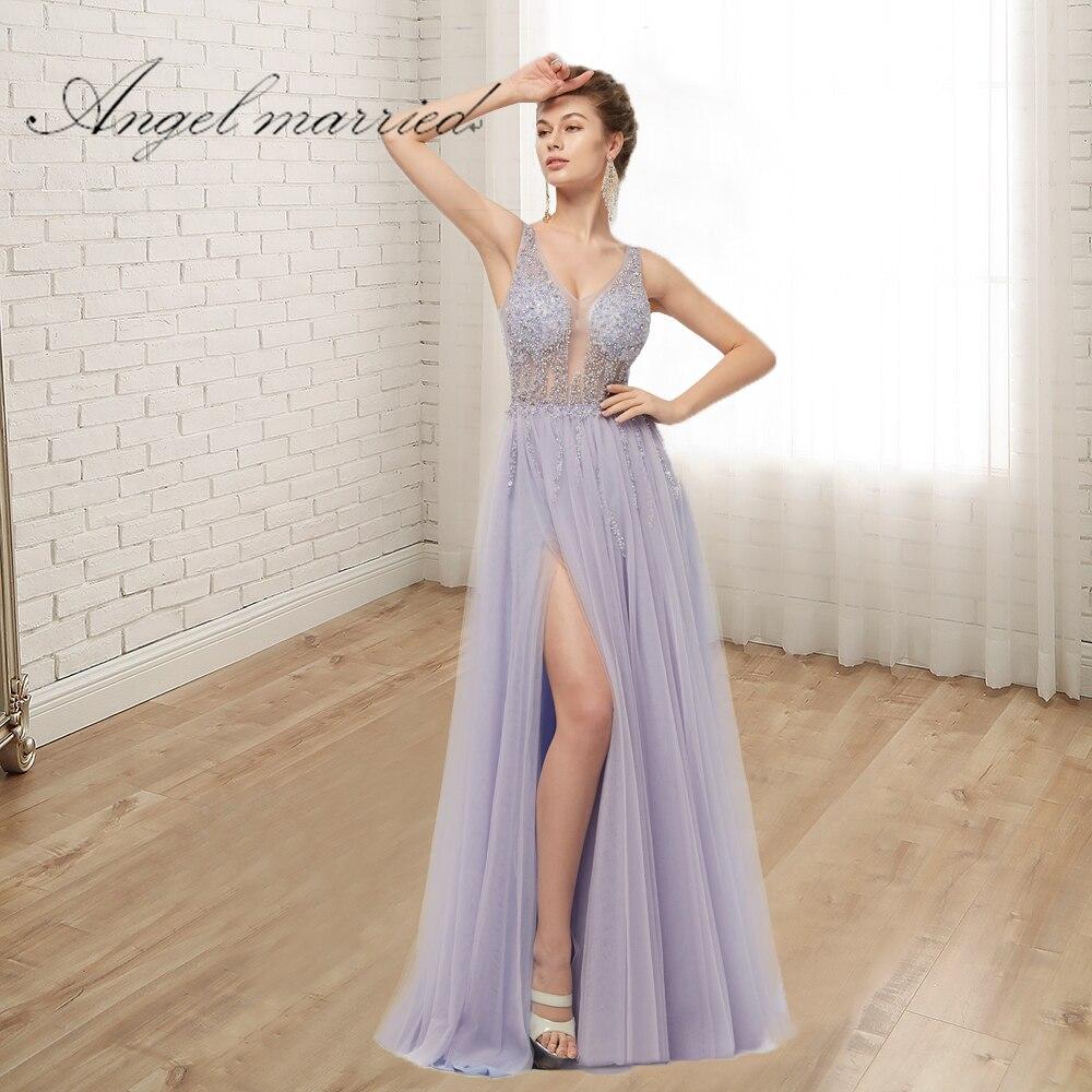 Ange mariée de Soirée De mode Robes avec fente bas v cou cristal de bal robes femmes pageant robe formelle parti robe robes