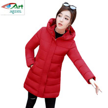Winter women cotton padded parka jacket 2018 New fashion Hooded thick cotton coat Medium length women casual coat Plus sizeAS342