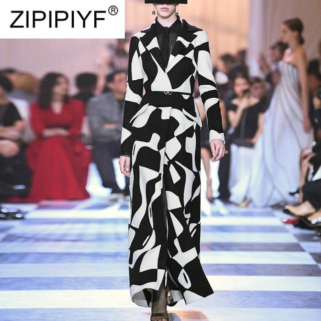 High-quality Coat Women 2018 New Fashion Black & White Printing Turn down Collar Long Slim Woolen Coat Q011 (L XL not available)