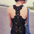 2016 Verão New Fashion Tanque Das Mulheres top Sexy tops lace Crochet Voltar Oca-out vest Camisole lace Preto & Whit Colete