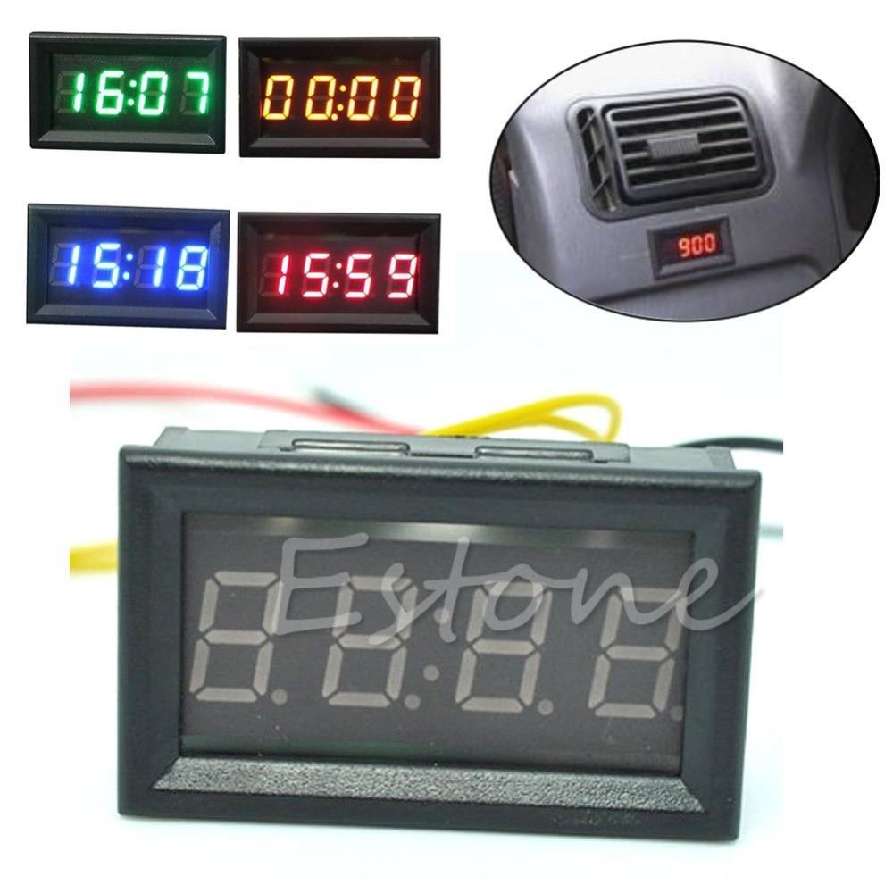 QILEJVS Hot Sale Car Motorcycle Accessory 12V/24V Dashboard LED Display Digital Clock