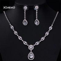 XIAGAO Water Drop Ruby Blue Sapphire White Topaz Jewelry Sets For Women Bracelet Earrings Necklace Pendant