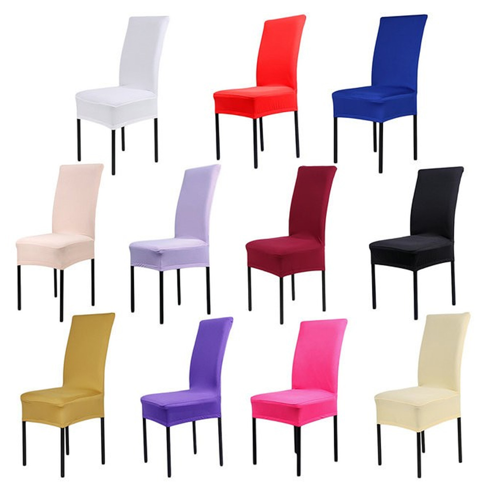 Home Textile Sensible Cheap 6pcs/lot Red/white/black/blue 14 Solid Colors Elastic Stretch Spandex Chair Cover For Hotel Wedding Party Decoration