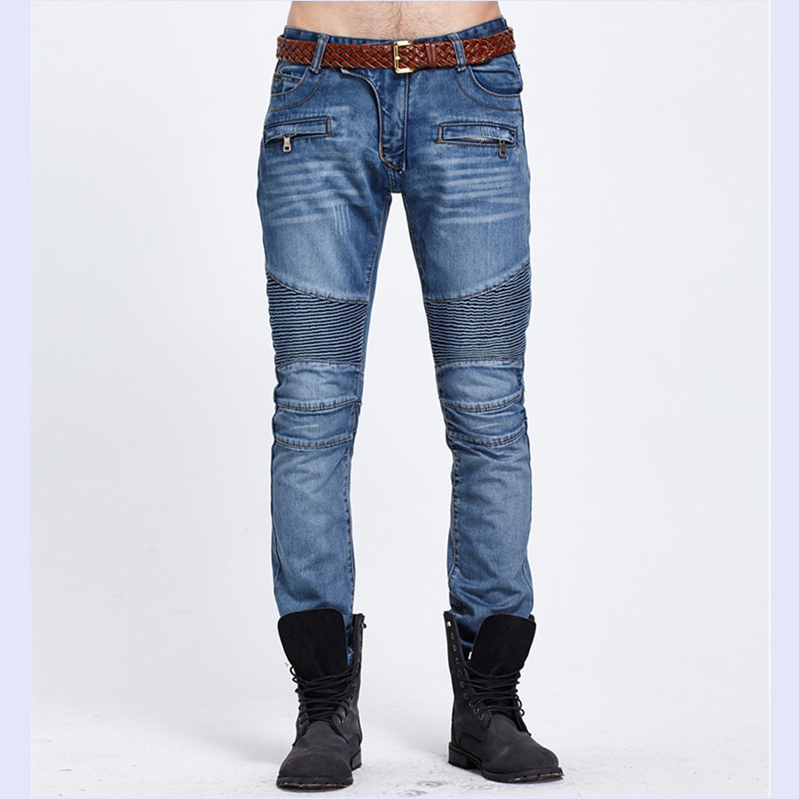 Casual Mens Ripped Biker Jeans Trousers Mid Waist Brand Designer Male Jeans Pants Blue Zipper Pocket Denim Hip Hop Skinny Jeans 2016 new mix brand slim straight jeans men skinny wash retro old ripped jeans mens casual denim trousers biker jeans mens zipper