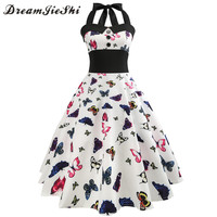 Dreamjieshi Cute White Vintage Dress Retro 50s 60s Halter Butterfly Floral Printed Ball Gown Summer Women