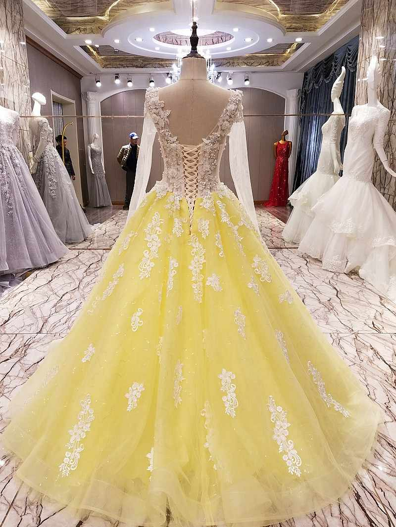 LS10 yellow evening gown corset back beaded tulle long sleeves evening  dress long on sale abendkleider lang real photos