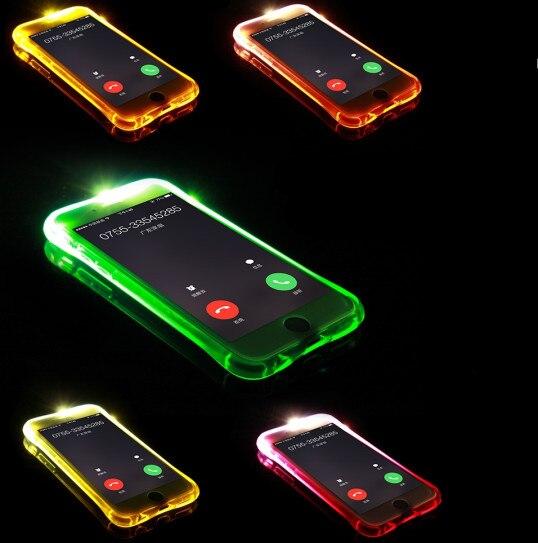 For iPhone 5S 7 7PLUS 6 6s phone Case Smart Luminous Called Sense <font><b>LED</b></font> Flash Case For iphone SE 5 5S 6 6S 6 Plus 6S Plus 7 7 Plus