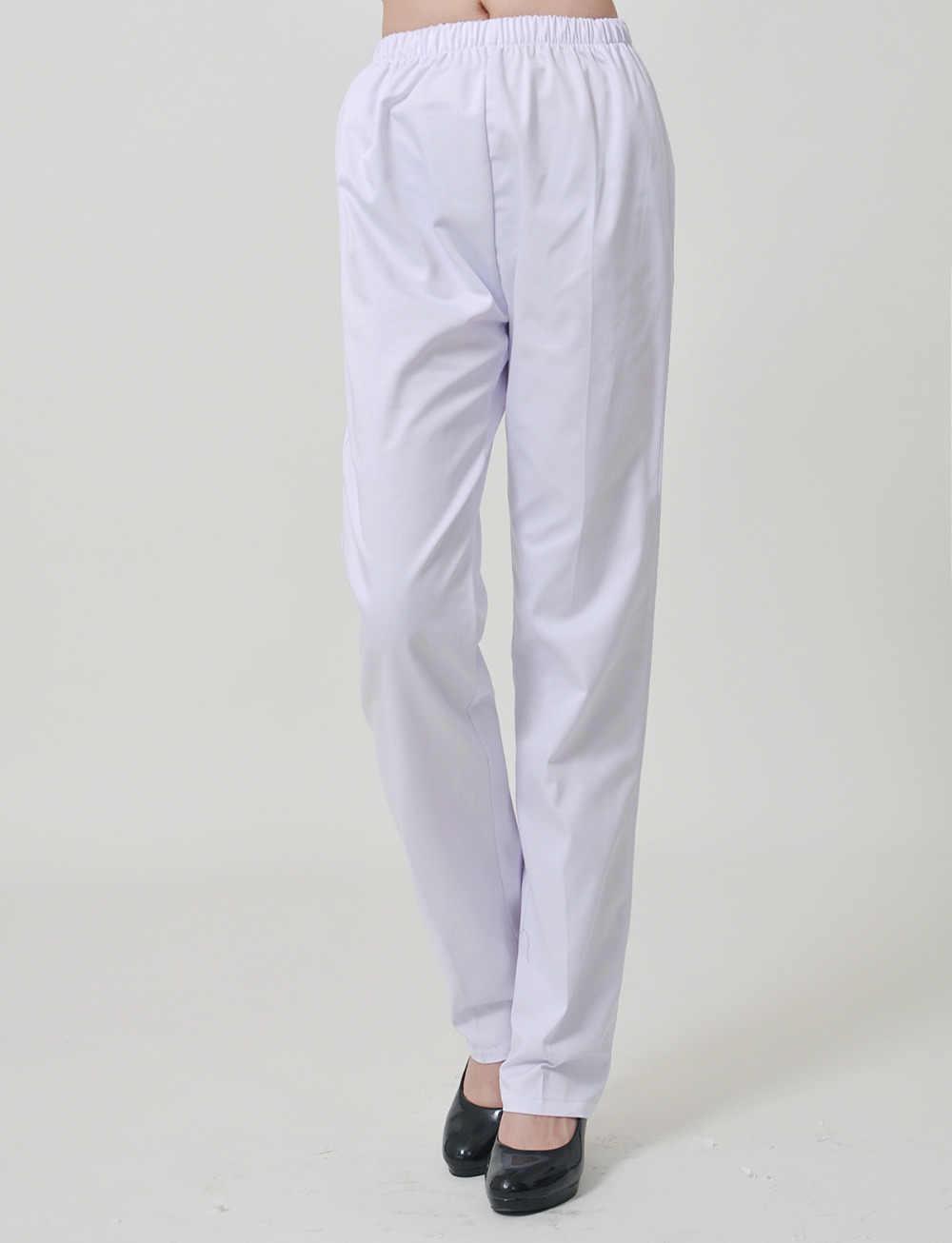 544f7e1cf09 women Medical uniform hospital nursing Nurse Pants White color Work Pants  Elastic Medical Pants Trousers Female