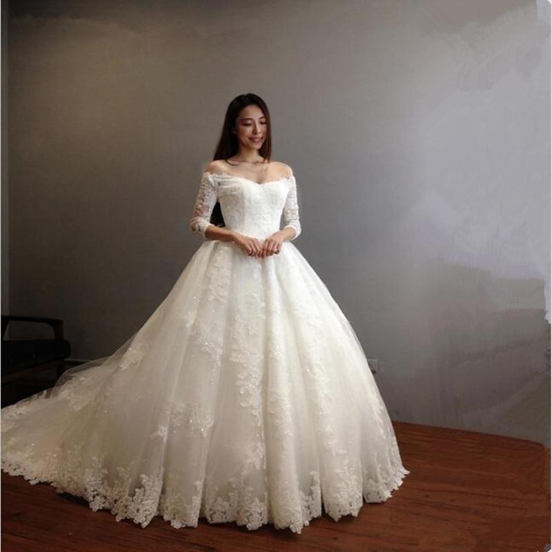 Vintage Wedding Dresses Greenwich: Vestido De Novia Cathedral Train Ball Gown Wedding Dress