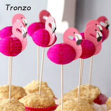 Tronzo 10PCS Pink Flamingos Cupcake Topper For Wedding Decoration Christmas Tropical Party Supplies Baby Shower Kids Favor Pick