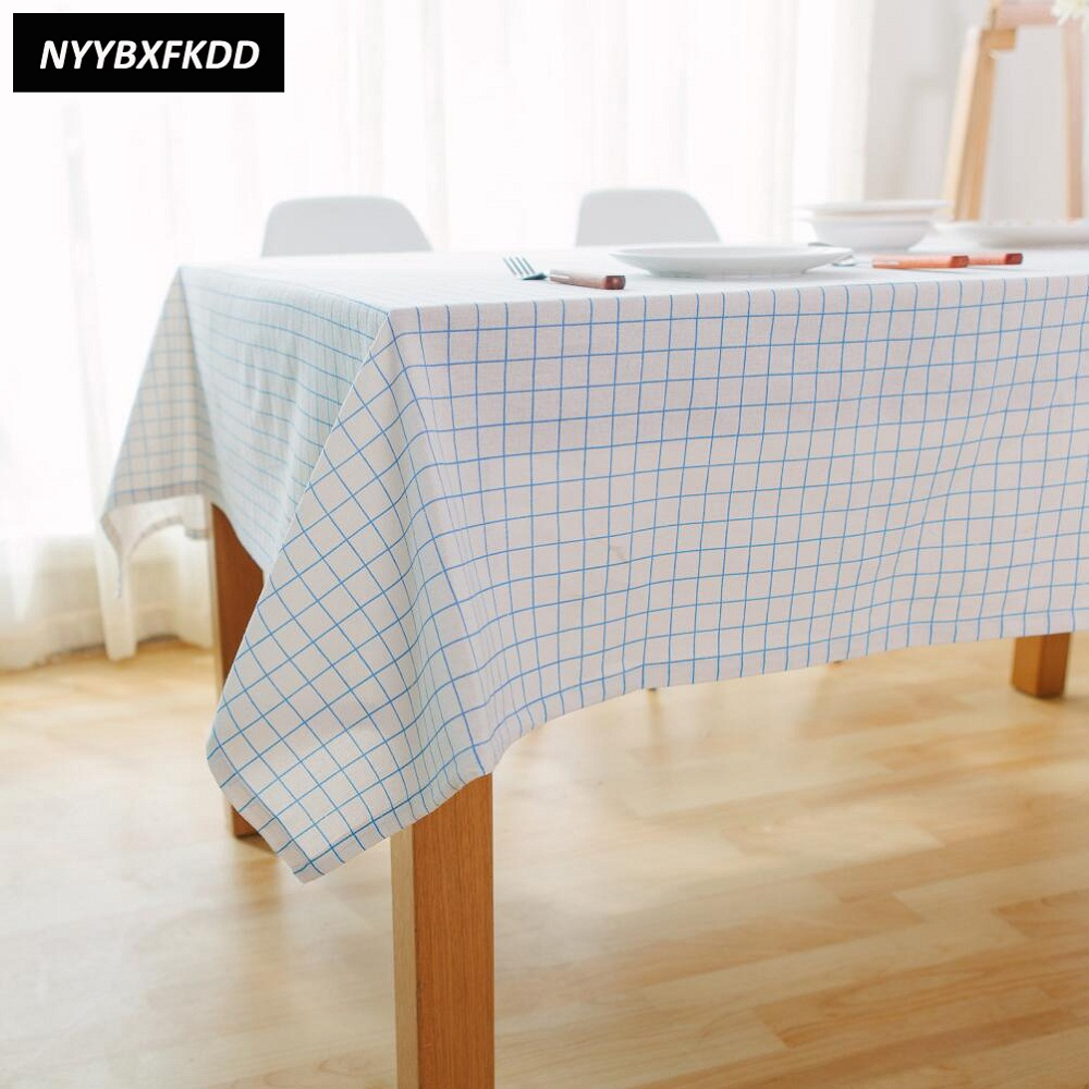 Home Nordic Style Blue Plaid Cotton Linen Table Cloth Banquet Outdoor TableCloth Nappe Table Cover Overlay
