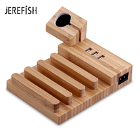 JEREFISH Wood USB Charging Station Charger Dock Stand Holder For Apple Watch iPhone 6 7 Tablet Phone Socket Mount Multi Function