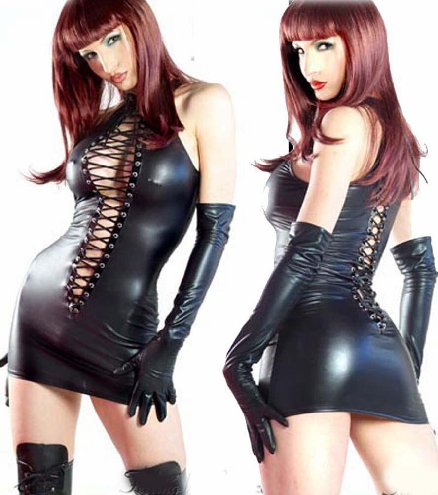 Sexy Women Plus Size Pvc Mini Dress Lingerie Faux Leather Clubwear