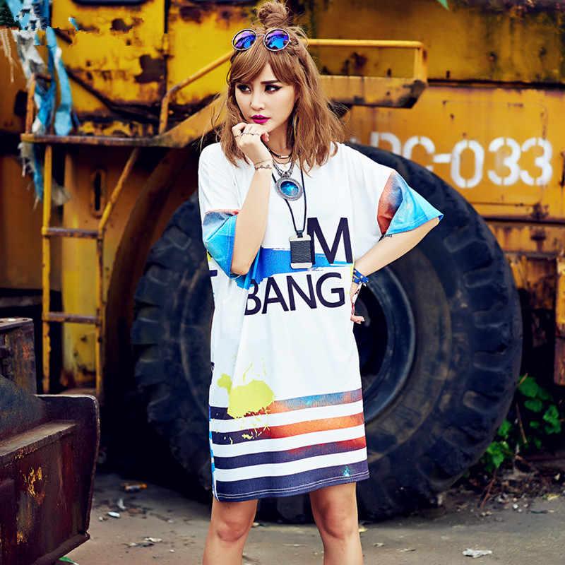 Moda nueva camiseta de mujer 2018 estilo de verano Vestidos Punk BANG hombres grandes sueltos camisetas casuales largas