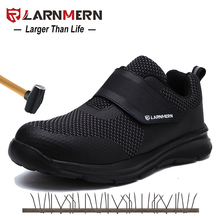 LARNMERN Men's Safety Shoes Steel Toe Construction Protective Footwear Lightweight 3D Shockproof Work Sneaker Shoes For Men