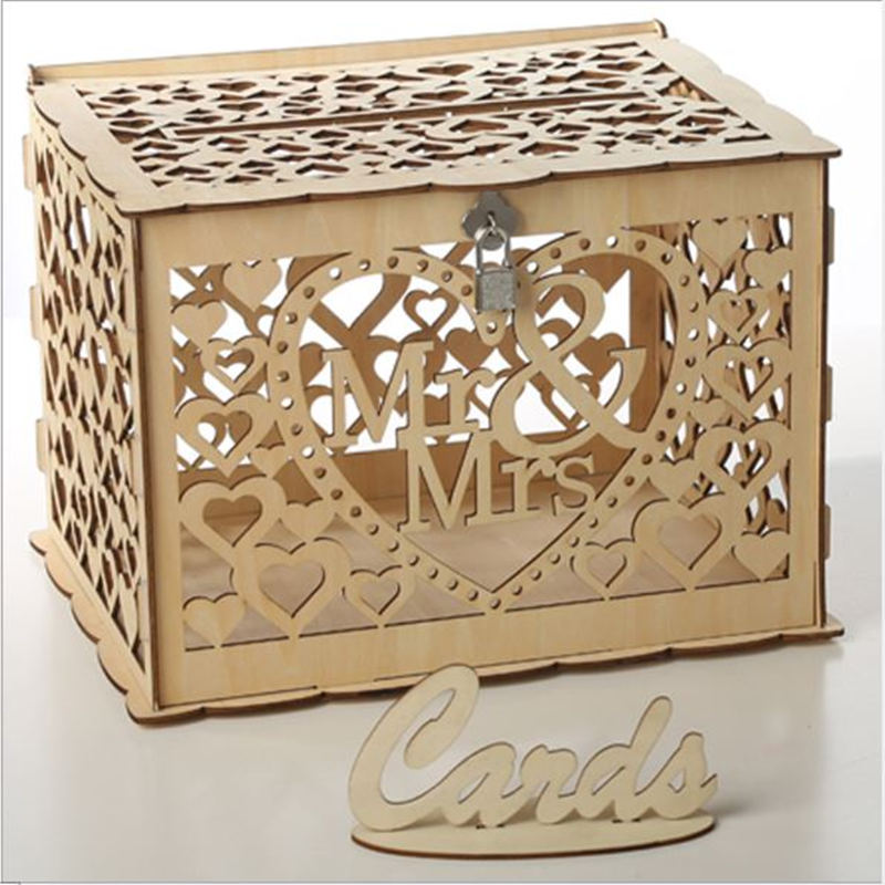 DIY Wedding Gift Card Box Wooden Money Box With Lock Beautiful Wedding Decoration Supplies For Birthday Party Gift