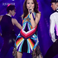 DJGRSTER 2018 Newest style female singer DS costumes DJ bar laser ultra Sleeveless backless singer dress jazz dance clothing