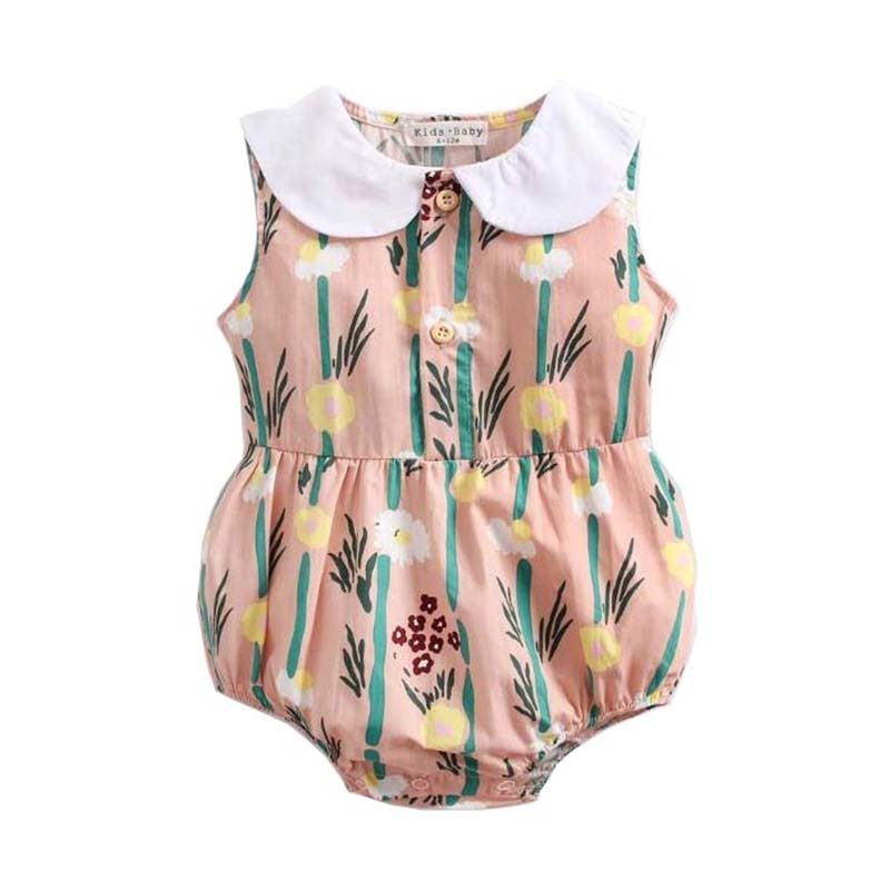 Cartoon Printing Fashion Baby Girls Floral Sleeveless Clothes Casual Cotton Bodysuit Funny Cute Outfits Infant Junpsuit Toddler