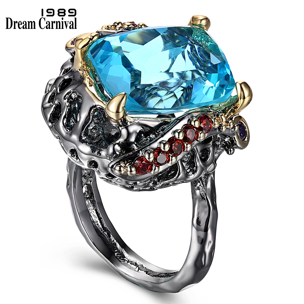DreamCarnival 1989 Brand New Gothic Ring for Women Big Blue Square Sparkling Cut Cubic Zirconia Wedding Party Jewelries WA11550
