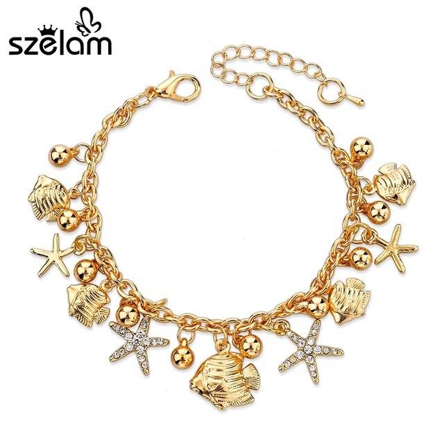2019 Crystal Fancy Star Chain Link Trendy Bracelets For Women Jewelry European Design Gold Charm