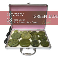 NEW Tontin 18pcs Set Green Jade Body Massage Hot Stone Beauty Salon SPA Tool With Heating