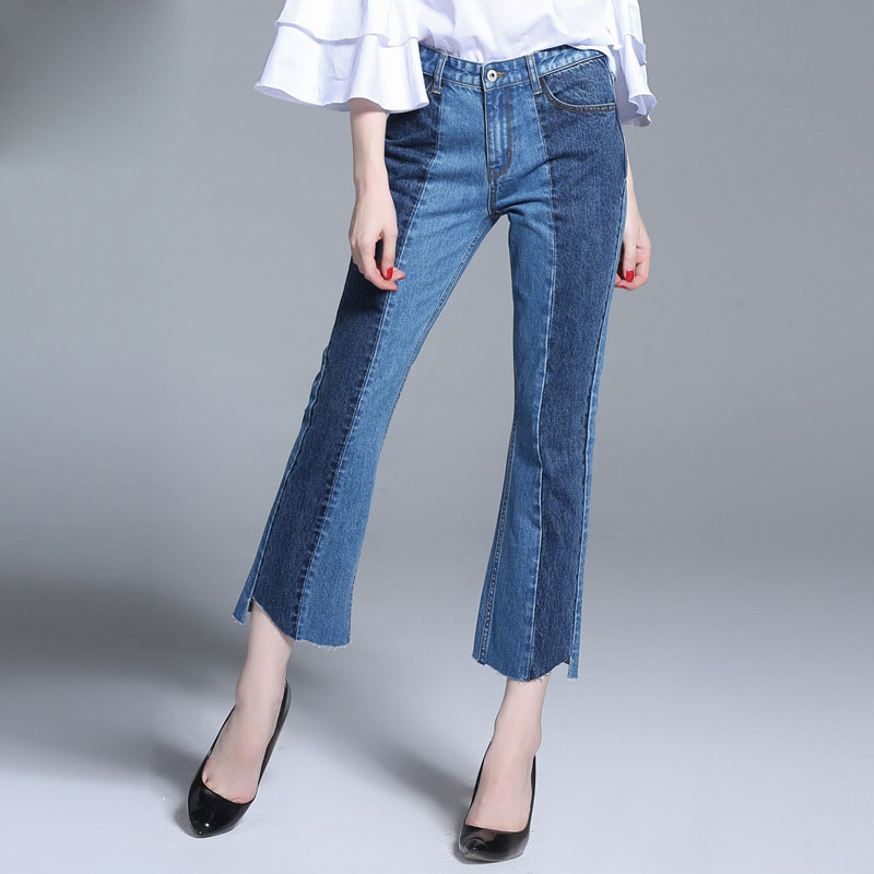 2017 Fashion Women Ripped Jeans Pants Casual Push Up Denim Jeans Bell Bottom Plus Size Skinny Embroidery Spring Woman Trousers 2014 new fashion reminisced men vintage trousers casual jeans wash capris pants loose plus size overalls zipper denim jumpsuit