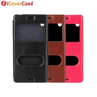For Sony Xperia M4 Aqua Case PU Leather Window View Flip Cover Phone Cases Fundas Carcasa
