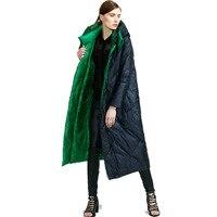 Зимнее пальто Для женщин гусиный пух Куртка утепленная Теплый пуховик дутая куртка парка фирменная Женская двусторонняя пальто doudoune femme hiver