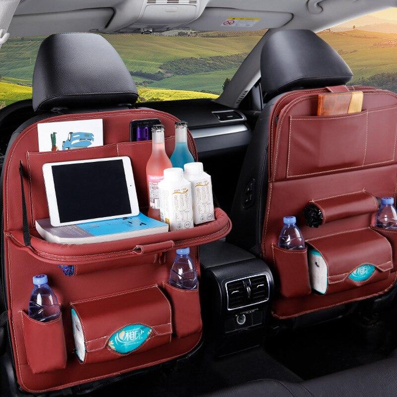 Сумка-накладка из искусственной кожи на заднее сиденье автомобиля Органайзер складной настольный лоток дорожная сумка для хранения складн...