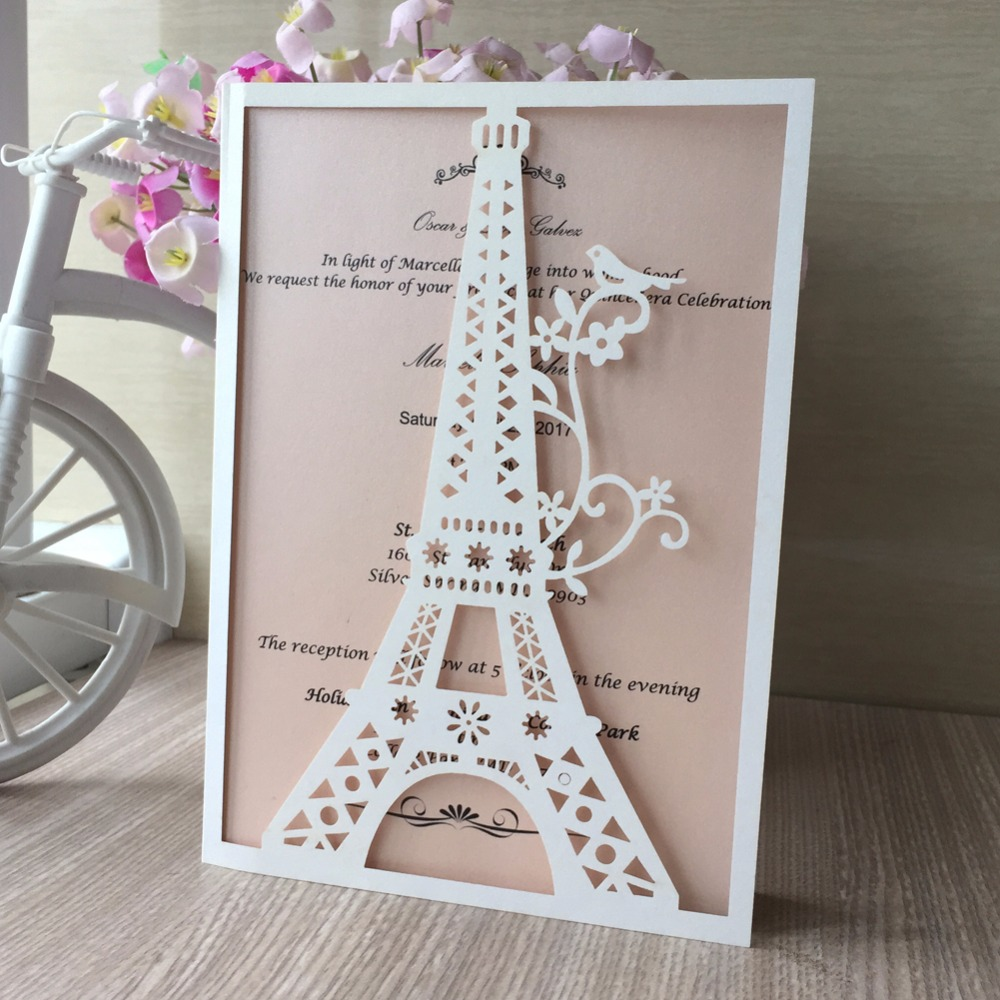50pcslot Laser Cut Pearl Paper Eiffel Tower Marriage Wedding Invitation Card Party Birthday