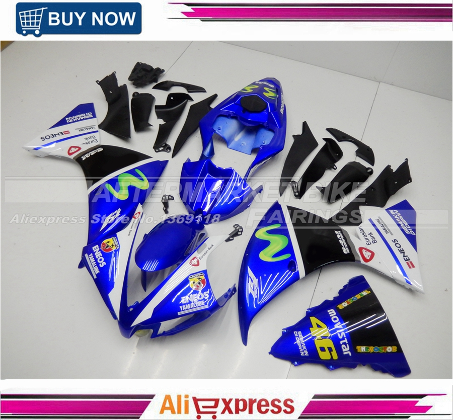 Movistar Fairings For Yamaha YZF1000 R1 2012 2013 2014 Sportbike ABS Motorcycle Fairing Kit Bodywork Cowling Motor Rossi VR46 top quality aftermarket abs fairings for yamaha r1 2012 kit with free shipping