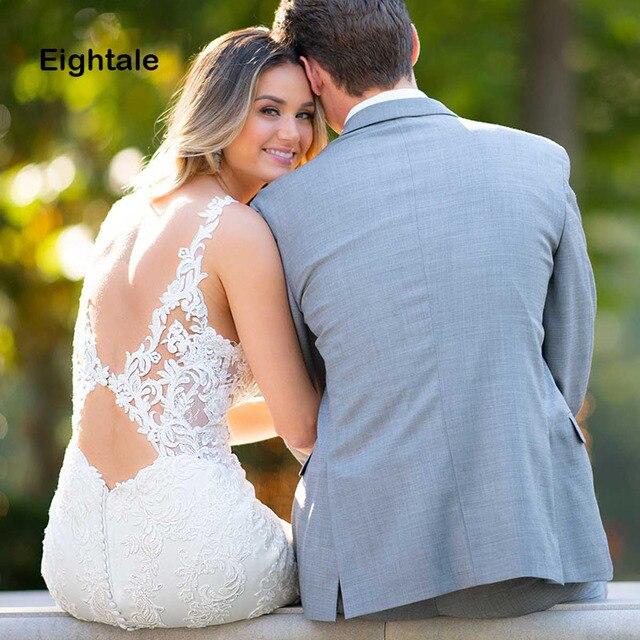 Eightale Mermaid Boho Wedding Dresses 2019 Sweetheart Appliques Lace Chiffon Wedding Gowns Backless Bride Dress vestido novia 4