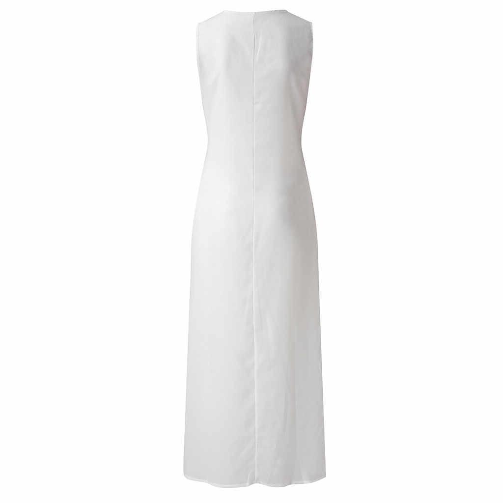 Feitong robe soiree femmerobe ceremonie femme נשים מקרית שרוולים V-צוואר פרח הדפסת מקסי טנק ארוך שמלת וינטג בגדים