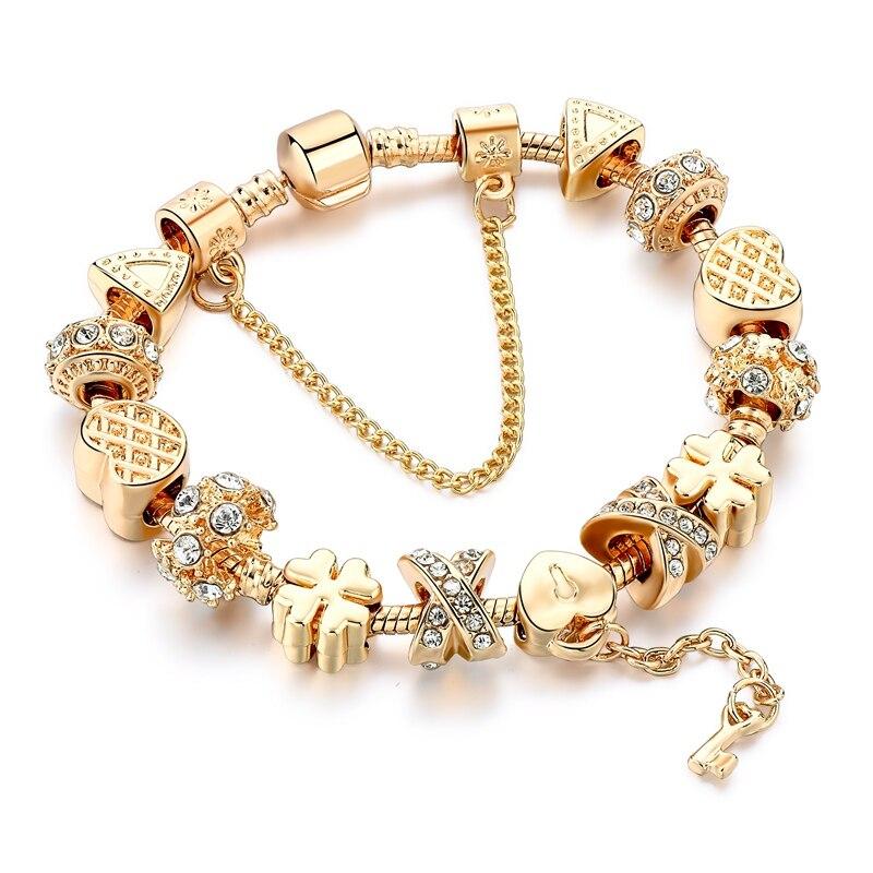 MELIHE Szelam אופנה לבן קריסטל מפתח קסם צמיד לנשים זהב אירופאי Diy חרוזים צמידים & צמידי Pulseira SBR170013