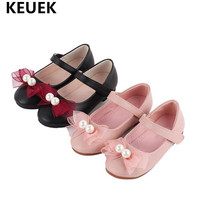 New Children Dance Party Bowknot pearl Flat with Princess Shoes Girls Genuine Leather Baby Moccasins Kids Leather Shoes 04