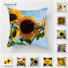 Fuwatacchi Sunflower Painting Cushion Covers Sunset Leaf Pillow Cover for Home Sofa Chair Decoration Plant Floral Pillowcases