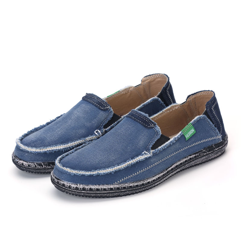 Mens casual canvas shoes loafers canvas denim man casual summer spring flats jeans slip-on shoes fashion men sneakers breathable