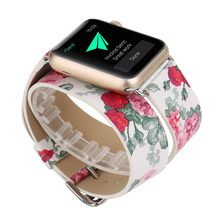 Correa de cuero con lazo doble para Apple Watch Correa 38mm 42mm 40mm 44mm correa de reloj para mujer para iwatch 1, 2, 3, 4 pulsera(China)