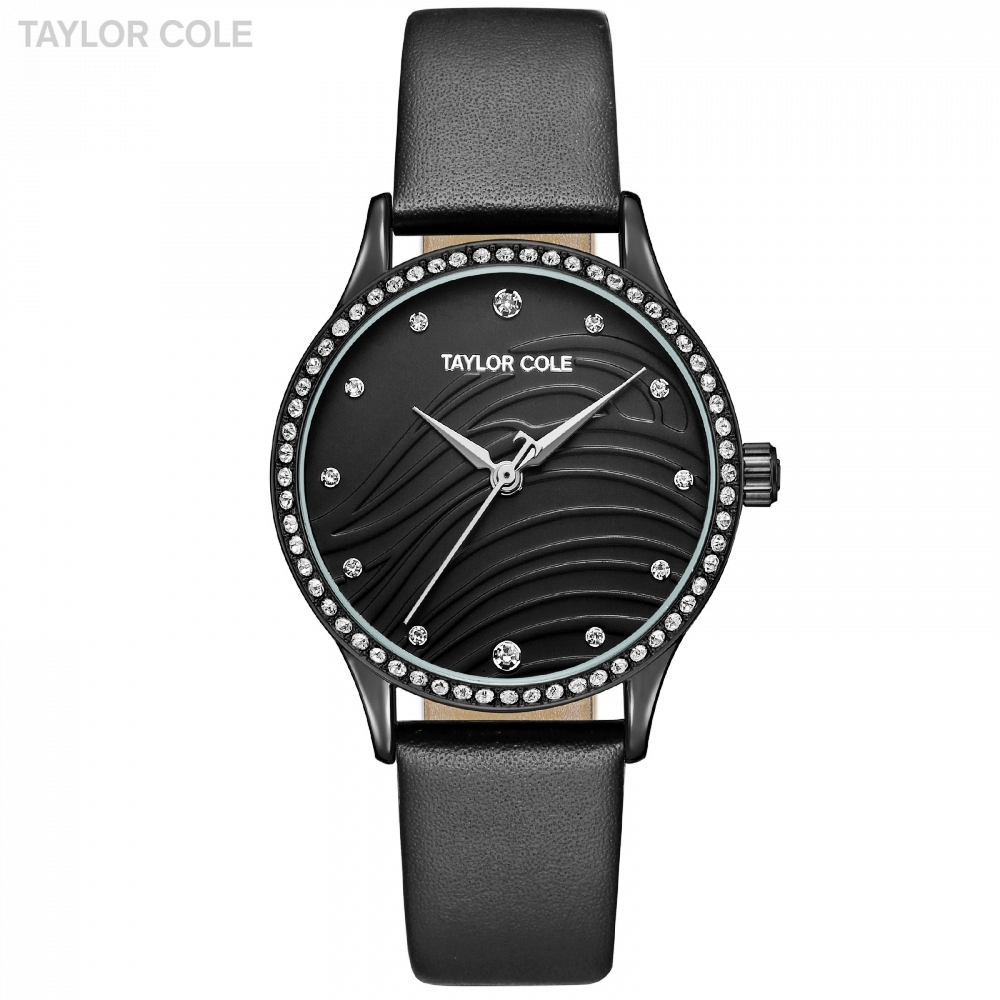 Taylor Cole Woman Brand Round Crystal Montre Femme Jewelry Watch Quartz Black Clock Leather Band Dress Watches + Gift Box /TC104