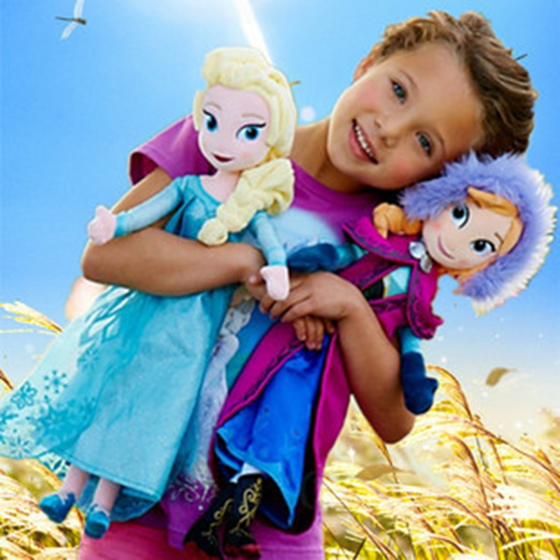 40-50cm Pricess Anna And Elsa Olaf  Stuffed Animals Plush Doll For Girls Christmas Superise Gift