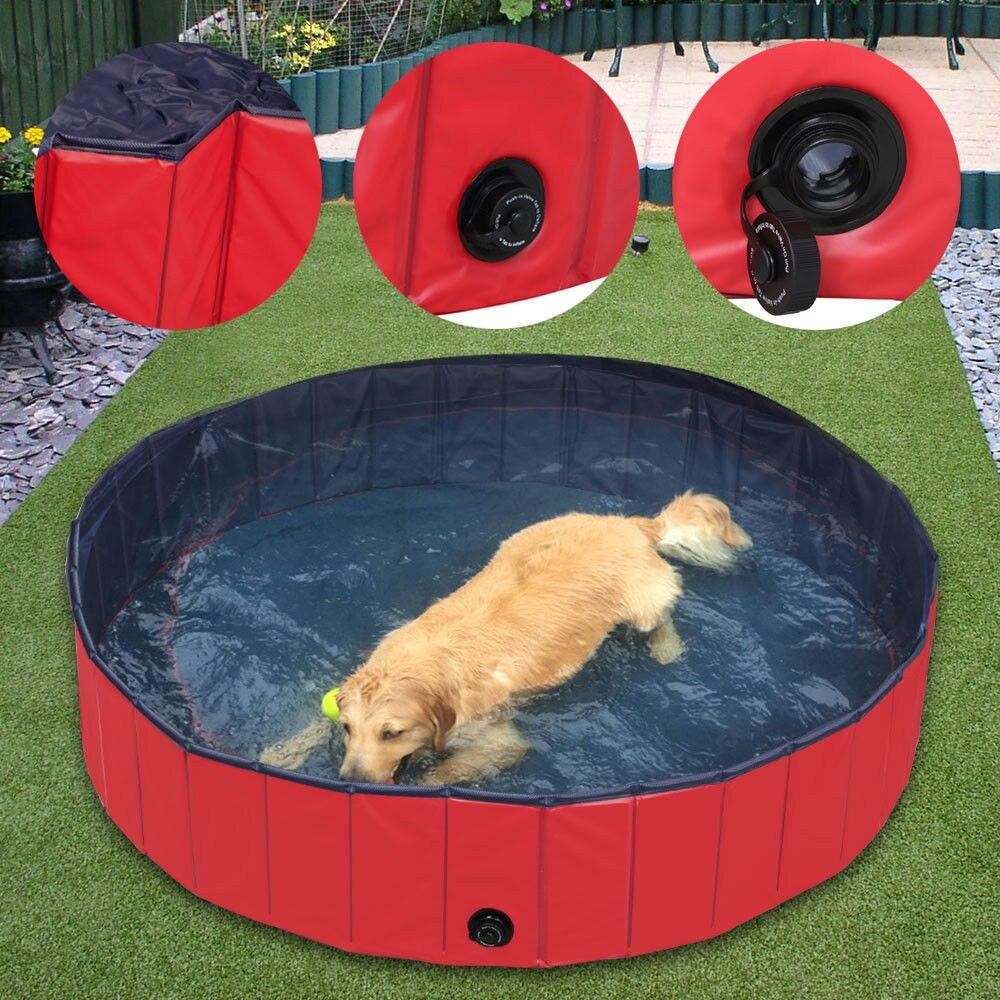 Pliable PVC Pet piscine natation refroidissement chat chien chiot baignoire intérieur extérieur rouge