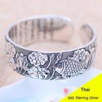 Подлинная стерлингового серебра 999 рыба между листьев лотоса Открыть Браслет 2 см Ширина Для женщин тайский серебряный Ювелирные украшения
