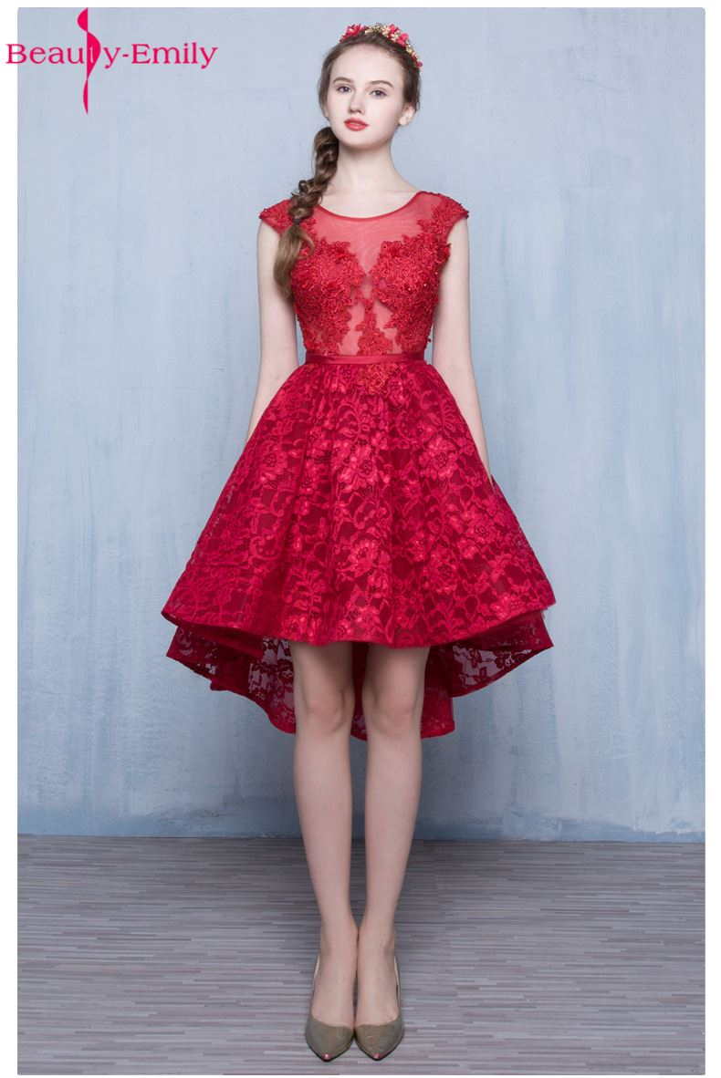 Beauty-Emily Wine Red Lace Sleeveless A-lin Short   Bridesmaid     Dresses   2017 Bride Party Gown Sexy Backless Formal Prom   Dresses