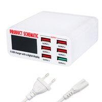 6A wysokiej Polecam 30 W 6 Port USB Szybka Ładowarka Stacja Adapter Auto Detect Ekran LCD ładowarka Ściany Domu