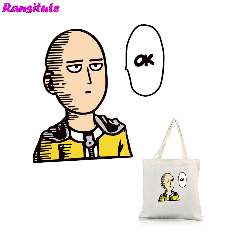 Ransitute R351 ONE PUNCH-MAN Personalized Patch DIY Clothing Printing T-shirt Sweater Thermal Transfer Washable Heat Transfer